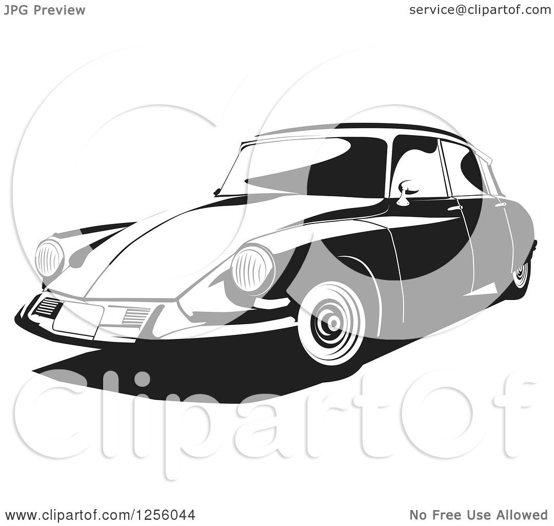 Clipart of a Black and White Citroen 1956 Car.