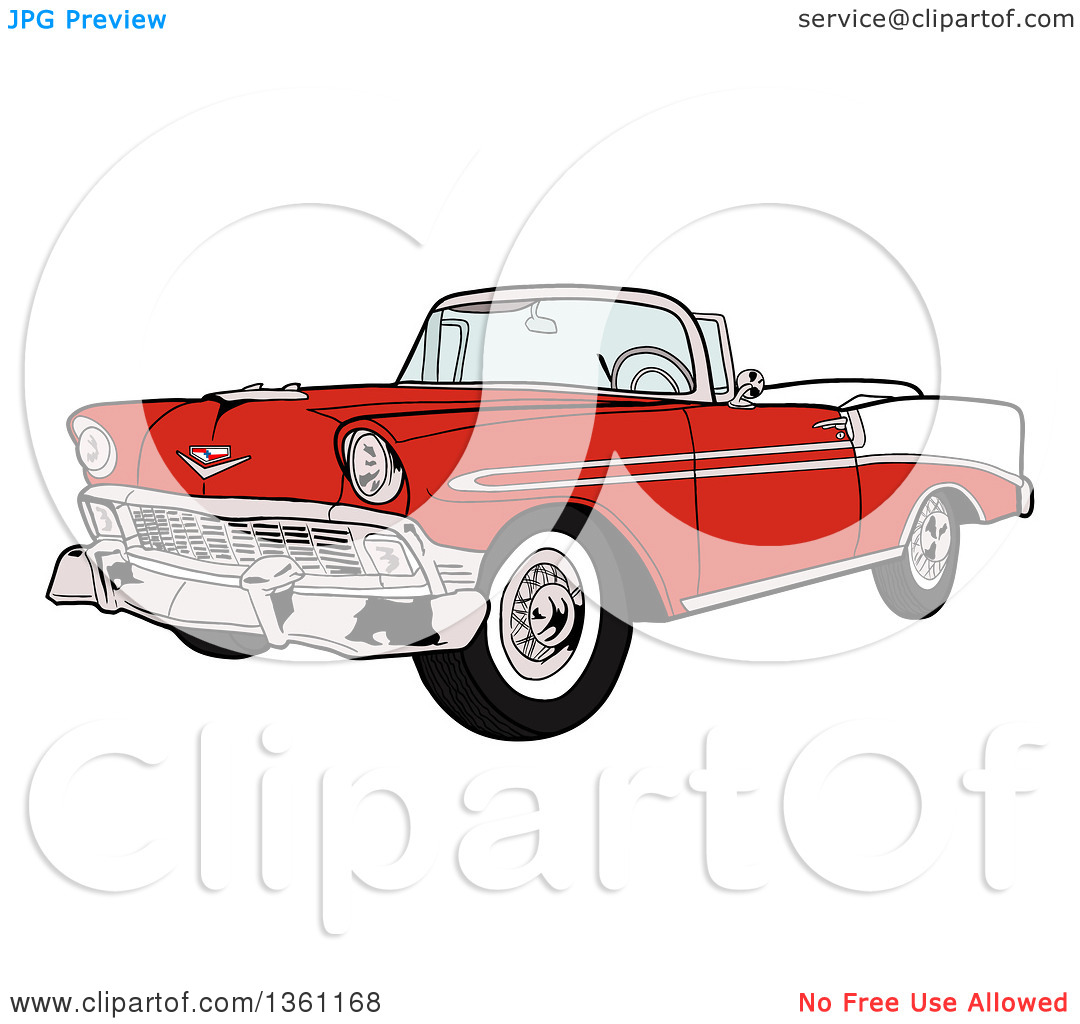 Clipart of a Cartoon Red and White 1956 Chevrolet Bel Air Classic.