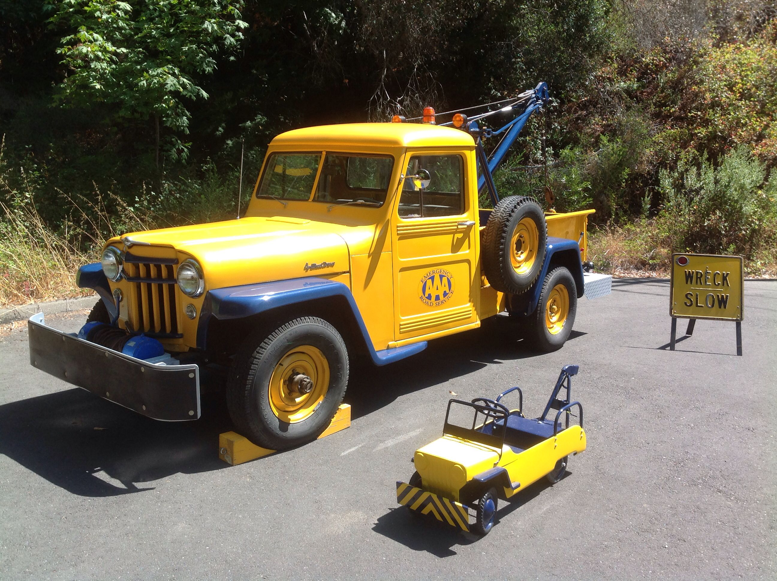 1956 Willys/Canfield Tow Truck w/ Hamilton pedal car Willys.