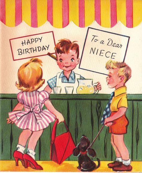 Vintage 1957 Happy Birthday To A Dear Niece Greetings Card.