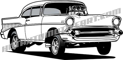 1957 chevy drag racer clipart, buy two images, get one image free.