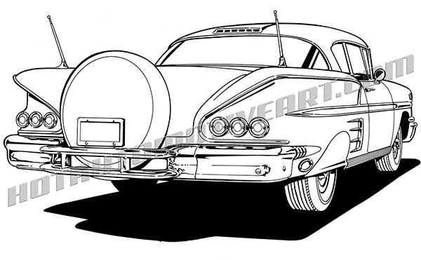 58 chevy impala clipart rear view, buy two images, get one free.