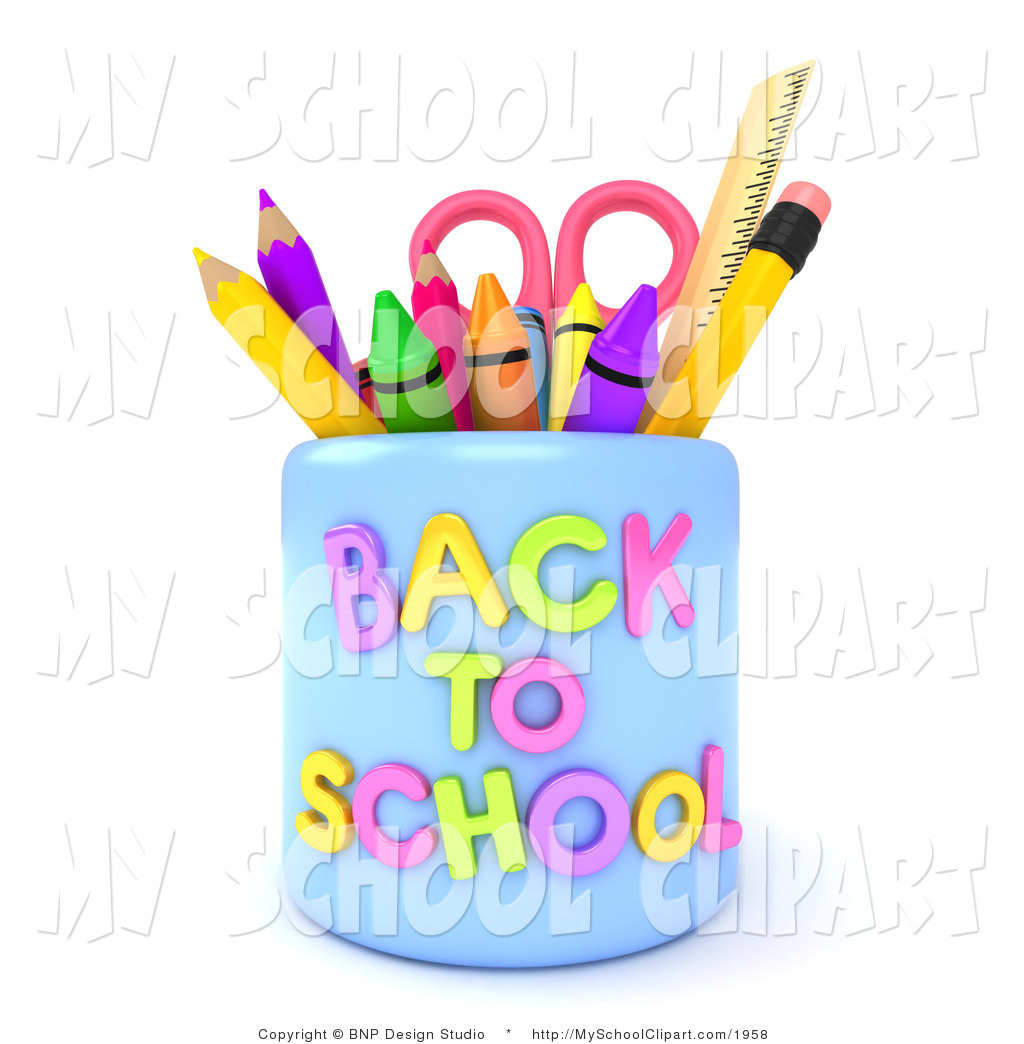 Clip Art of a 3d Back to School Pencil Cup with Crayons Scissors.