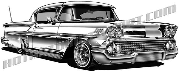 1958 chevy impala lowrider clipart, high quality, buy two images.