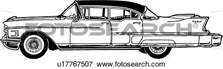 Clip Art of , 1958, automobile, caddie, caddy, cadillac, car.