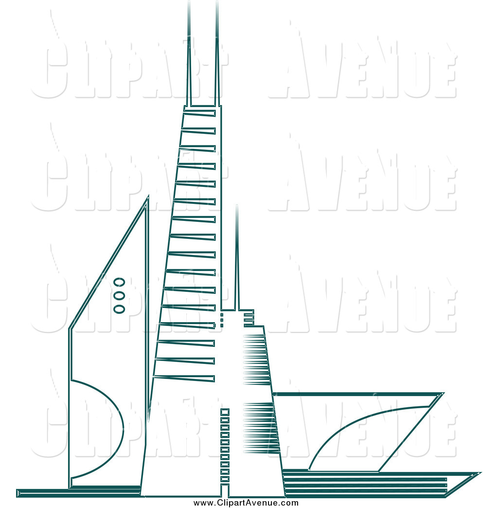 Avenue Clipart of a Teal Skyscraper Building by Vector.