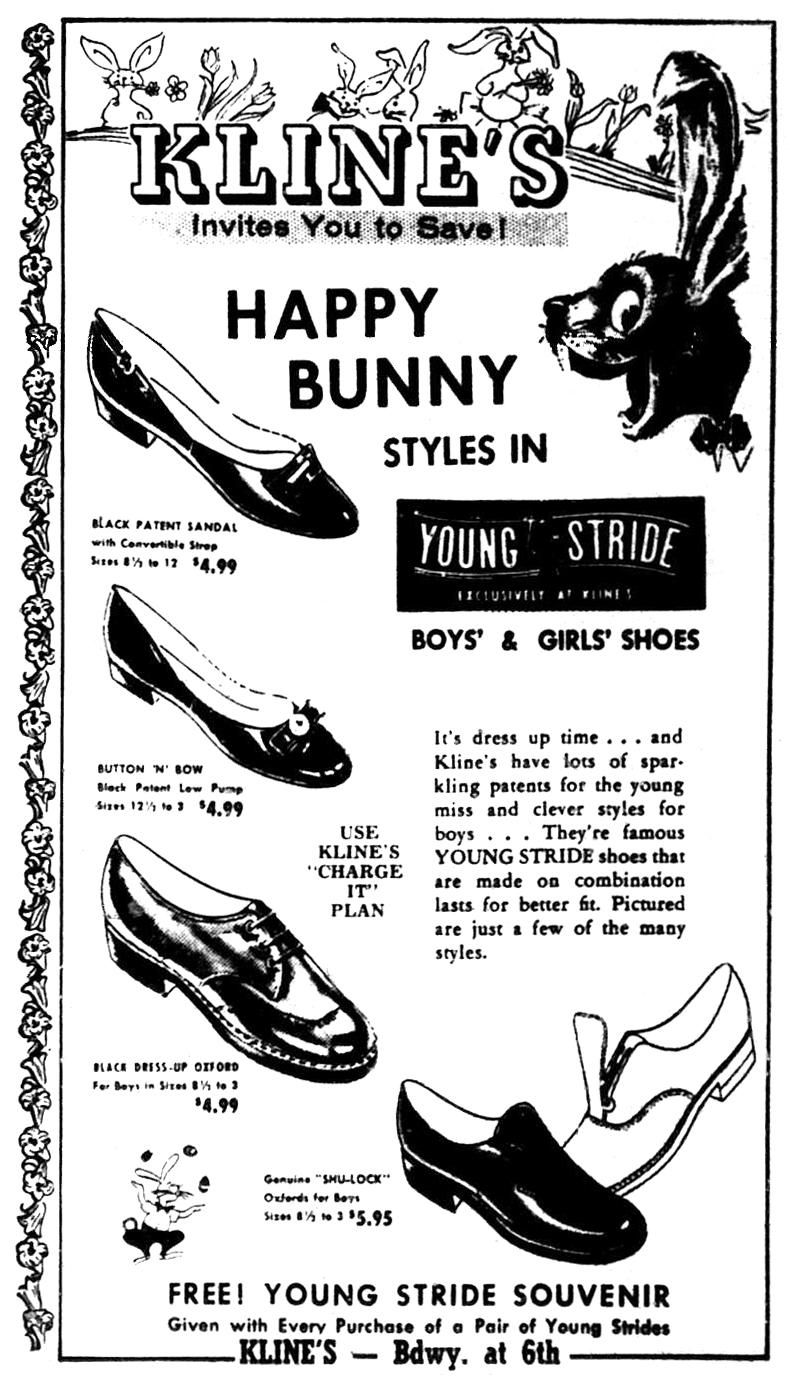 Brady's Lorain County Nostalgia: 1958 Kline's Dept. Store Easter Ad.