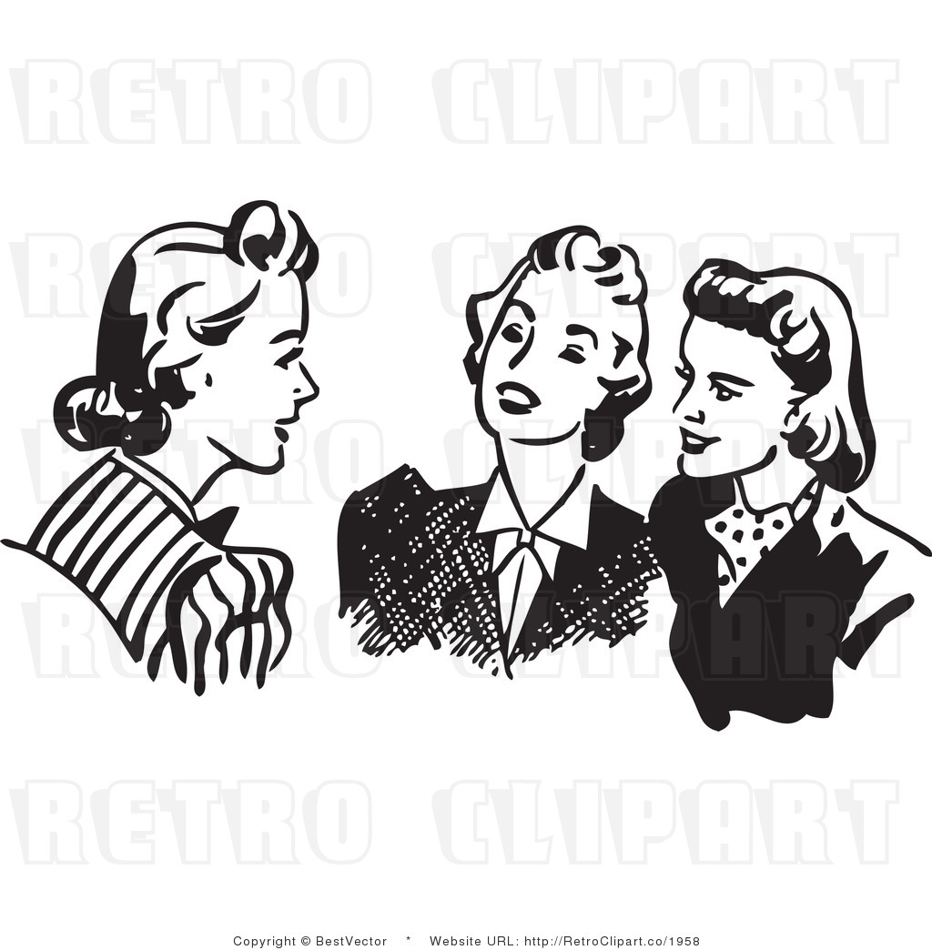 Retro Ladies Lunching Clipart.