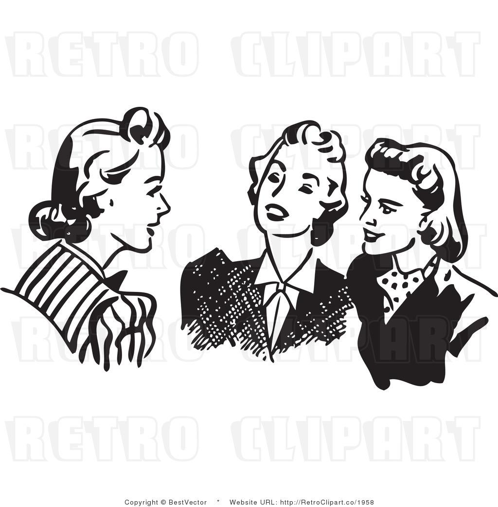 Retro Ladies Lunching Clipart.