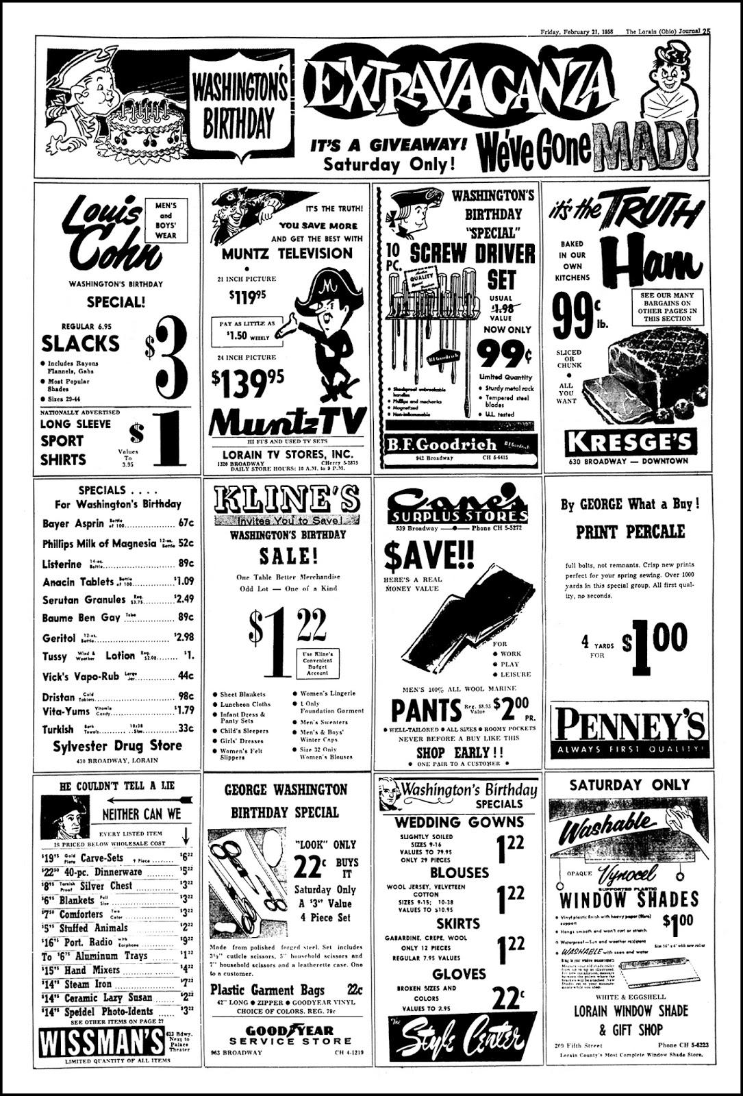 Brady's Bunch of Lorain County Nostalgia: Washington's Birthday Sale.