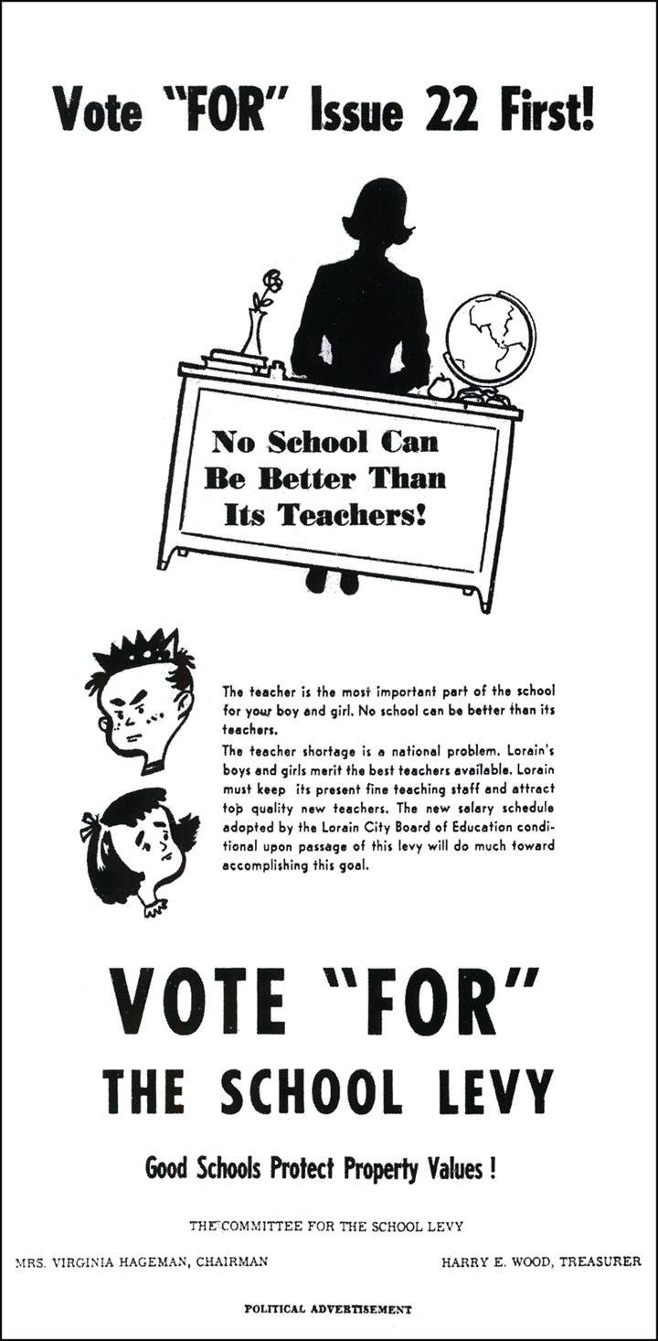 Brady's Bunch of Lorain County Nostalgia: 1958 Lorain School Levy Ad.
