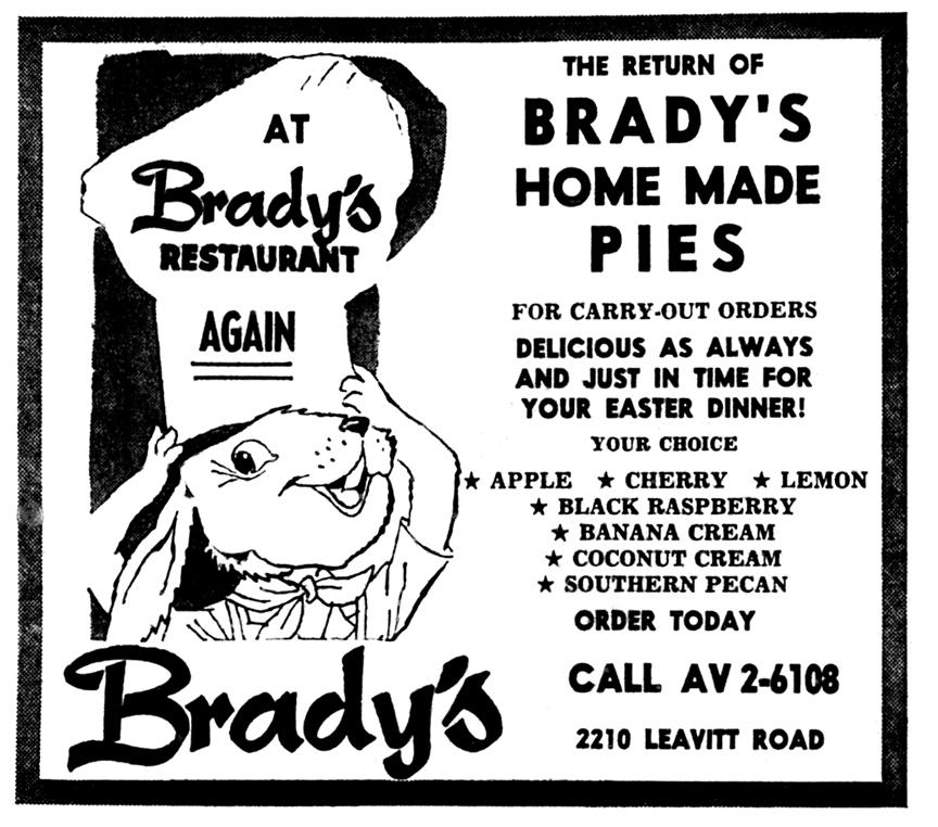 Brady's Lorain County Nostalgia: Easter at Brady's Restaurant 1958.