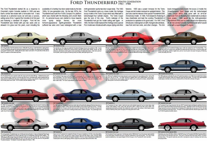 Ford Thunderbird 1983 to 1988 model chart poster Turbo Coupe.