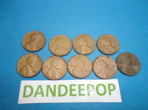 9 1958 with 1958 D Lincoln One Cent 1C Wheat Penny Pennies.