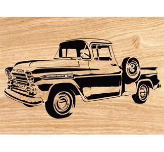 1959 Chevy Apache Pickup Scrolled Wall Art Pattern.