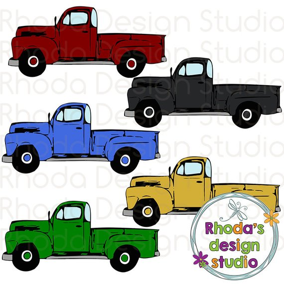 Maroon, Black, Gold, Green, Blue Vintage Pickup Truck Full.