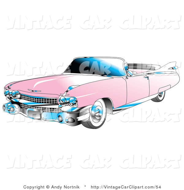 Clipart of a Convertible Pink 1959 Cadillac Car with Chrome.