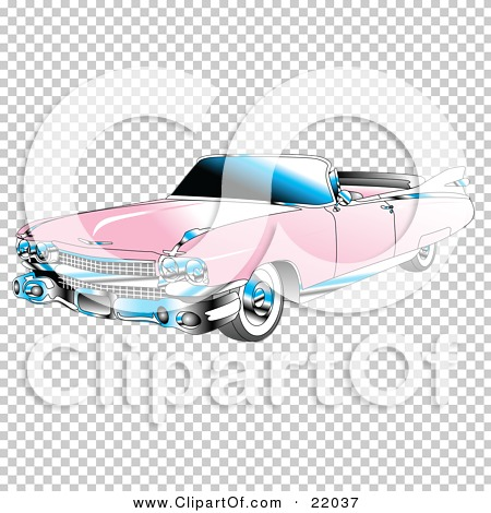 Clipart Illustration of a Pink Convertible 1959 Cadillac Car With.