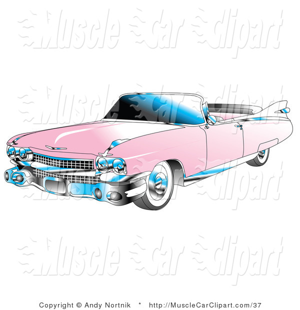 Automotive Clipart of a Pink Convertible 1959 Cadillac Car by Andy.