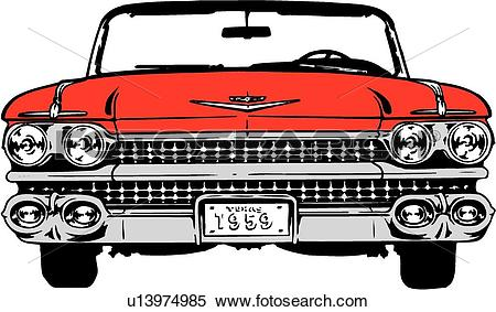 Clipart of illustration, lineart, classic, car, auto, automobile.
