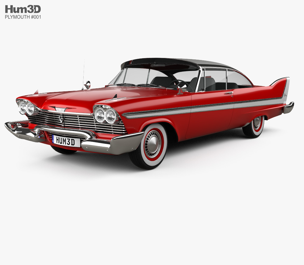 Plymouth Fury coupe Christine 1958 3D model.