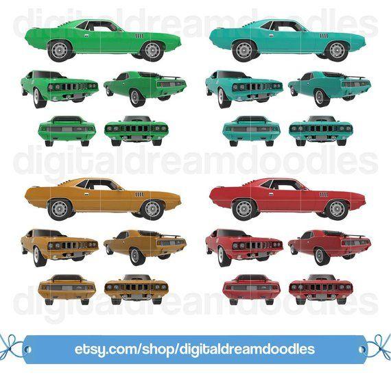 Muscle Car Clipart, Hemicuda Clipart, Hemi Cuda Classic Car.