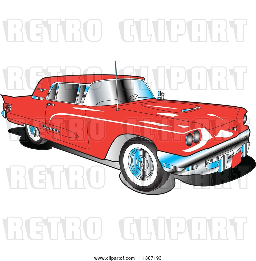 Vector Clip Art of Retro 1960 Red Ford Thunderbird Car by.