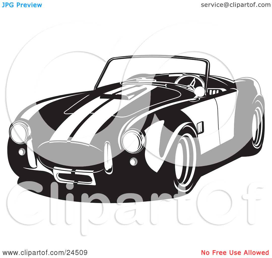 Clipart Illustration of a Convertible 1960 Ac Shelby Cobra Car.