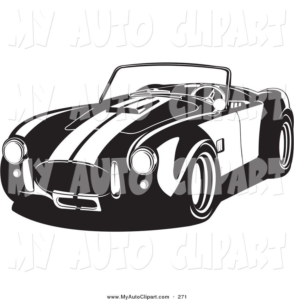 Clip Art of a Convertible 1960 Ac Shelby Cobra Car Driving Left.