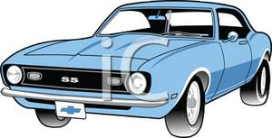 Blue Classic American Muscle Car From the 1960's.
