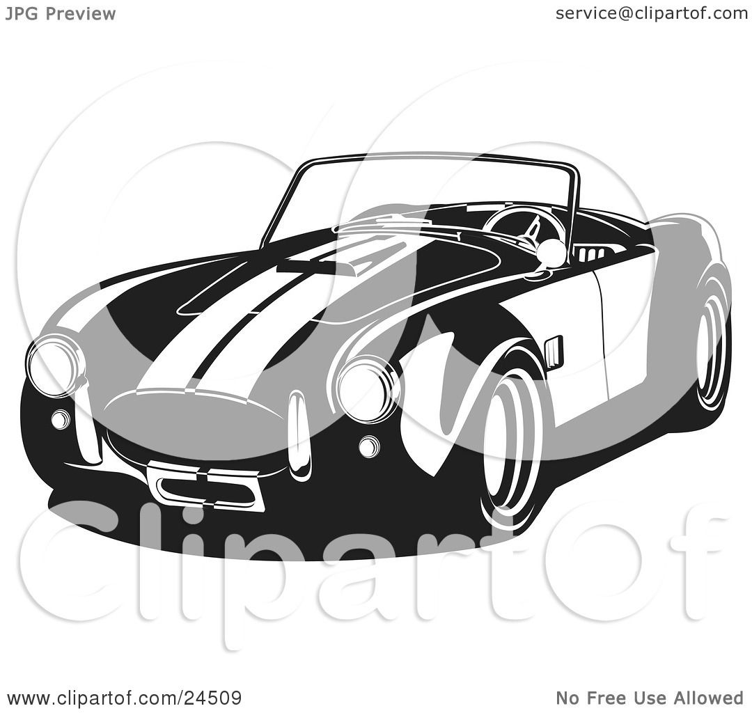 Clipart Illustration of a Convertible 1960 Ac Shelby Cobra Car With.