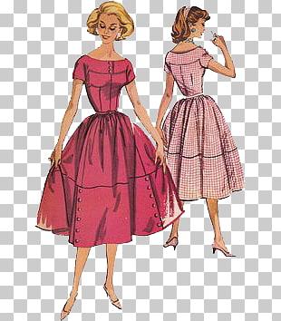 1950s 1960s Dress Vintage clothing Pattern, Women PNG.