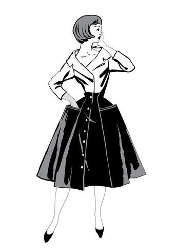 Stylish cloth woman. Fashion dressed girl 1960\'s style.