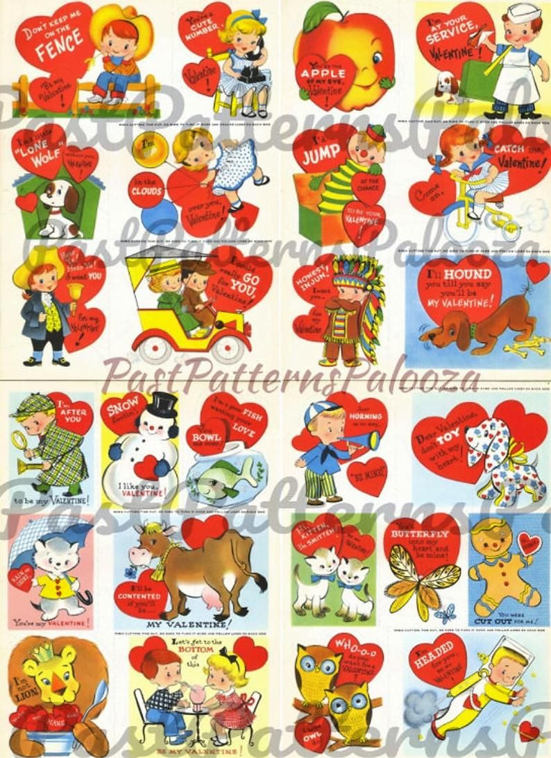 Printable Vintage 1960s Valentines Day Cards Cute Kitsch.