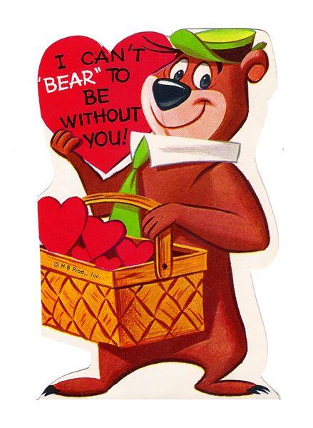 Yogi Bear vintage valentine. 1960\'s.