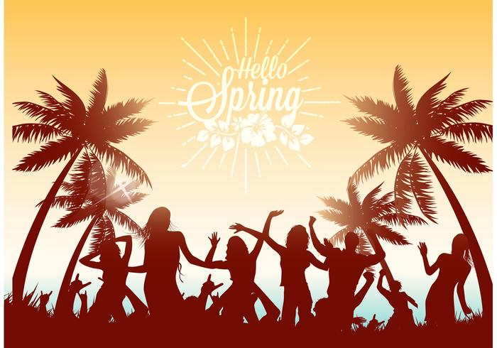 Free Dancing On The Beach Vector Illustration.