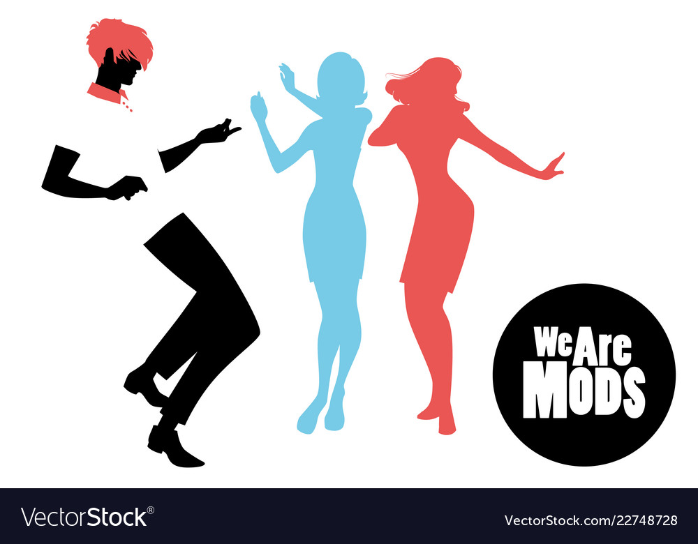 Elegant silhouettes of people wearing clothes of vector image.