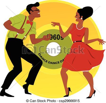 Vector Clip Art of 1960s dance.