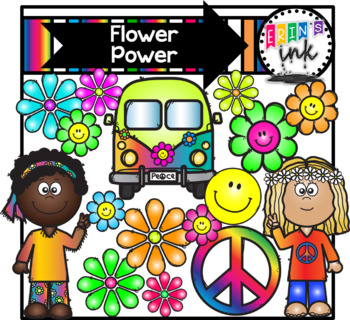 Flower Power 1960s Digital Clipart and Paper (Erin\'s Ink Clipart).