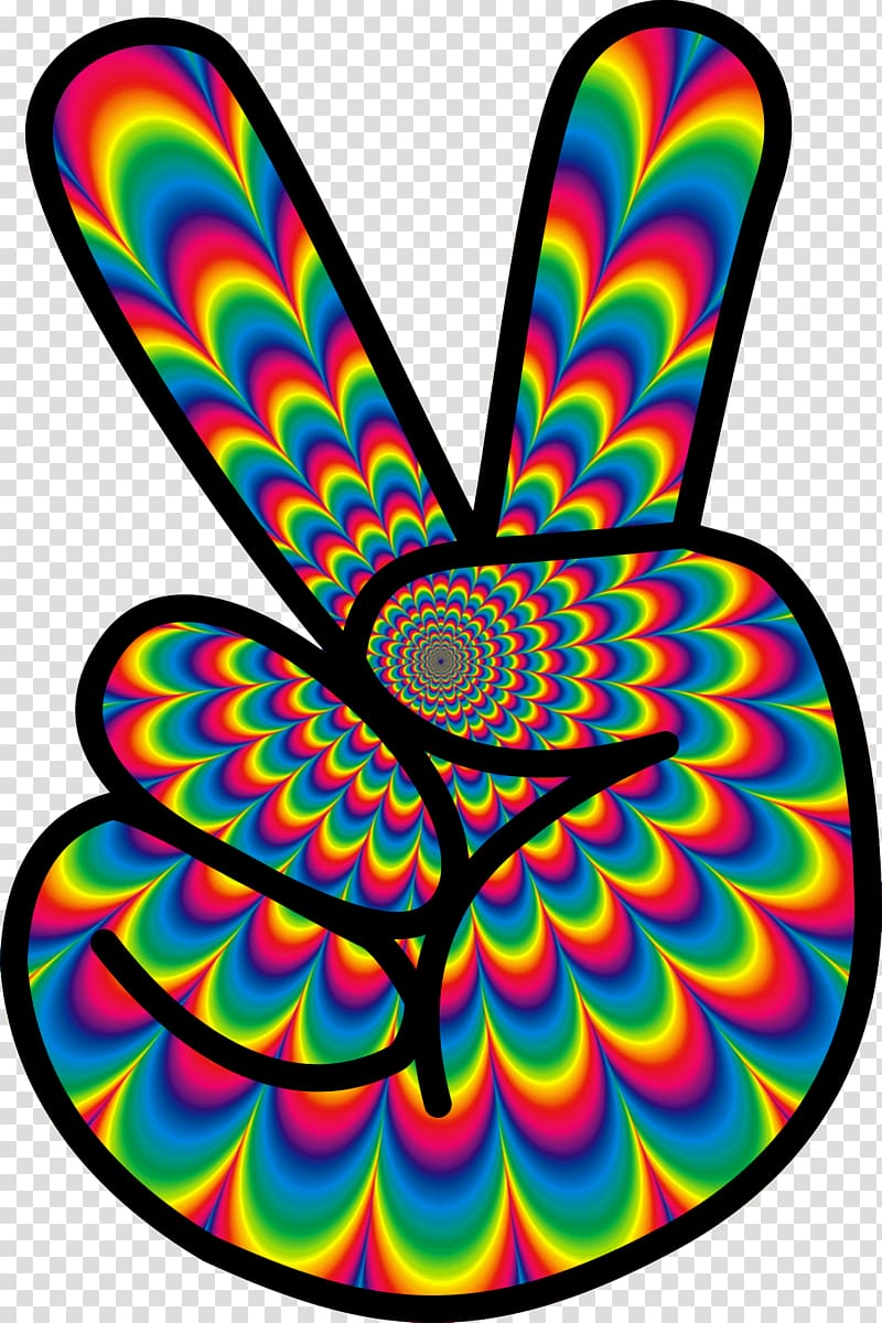 Multicolored peace hand sign, 1960s Hippie Flower power.