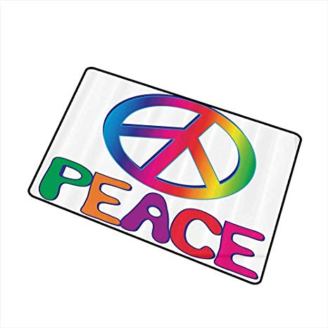 Amazon.com : Pet door mat 1960s Decorations Collection Peace.