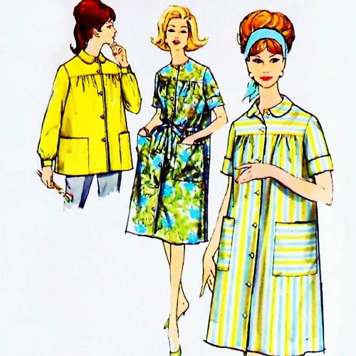 Duster Housedress/ 1960s Pattern/ Retro Housewife/ Pan.