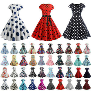 Details about Women Retro 50s 1960s Rockabilly Hepburn Style Pinup Swing  Dress Party Housewife.