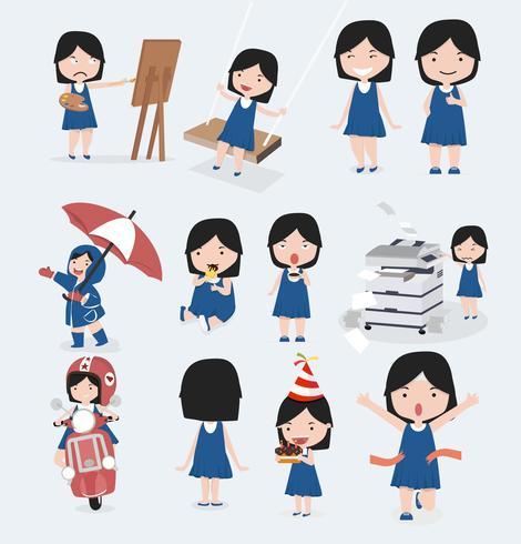 Cute little girl blue dress character set.