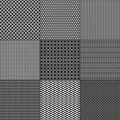 black and white mod geometric patterns.