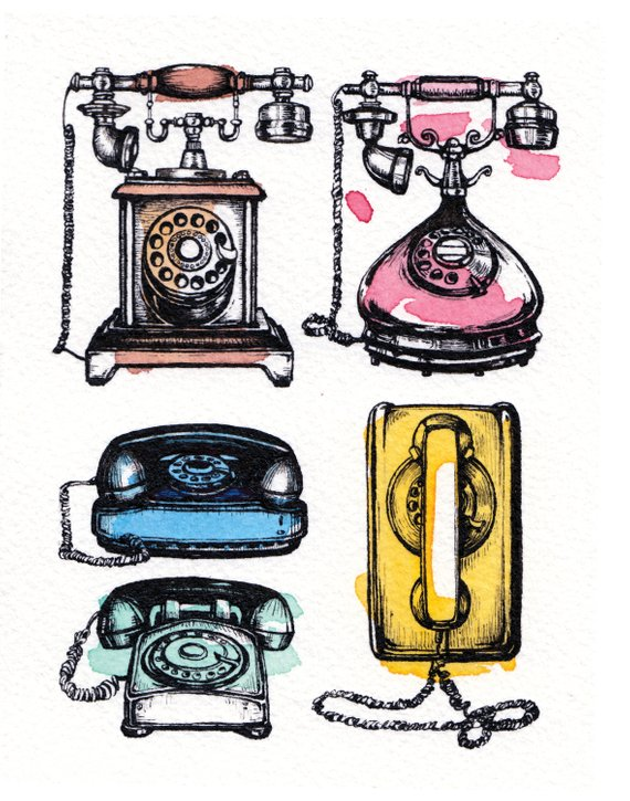 Vintage Telephones Ink and Watercolor Illustration, Rotary.