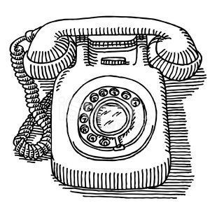 Classic Dial Telephone Drawing stock vectors and illustrations.