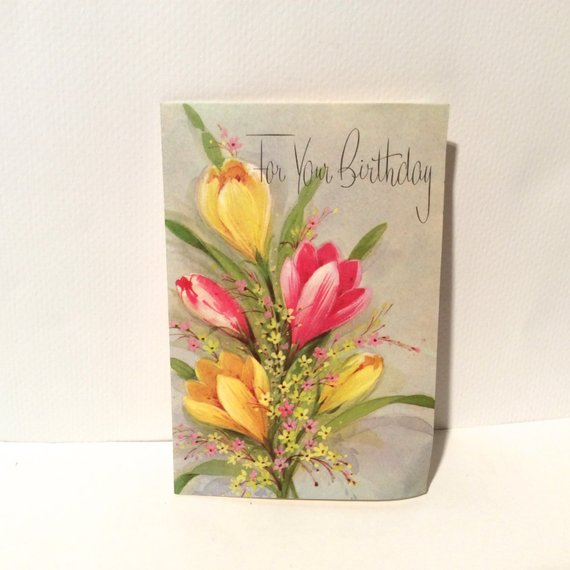 Vintage 1960s \'For Your Birthday\' Floral MCM Greeting Card.