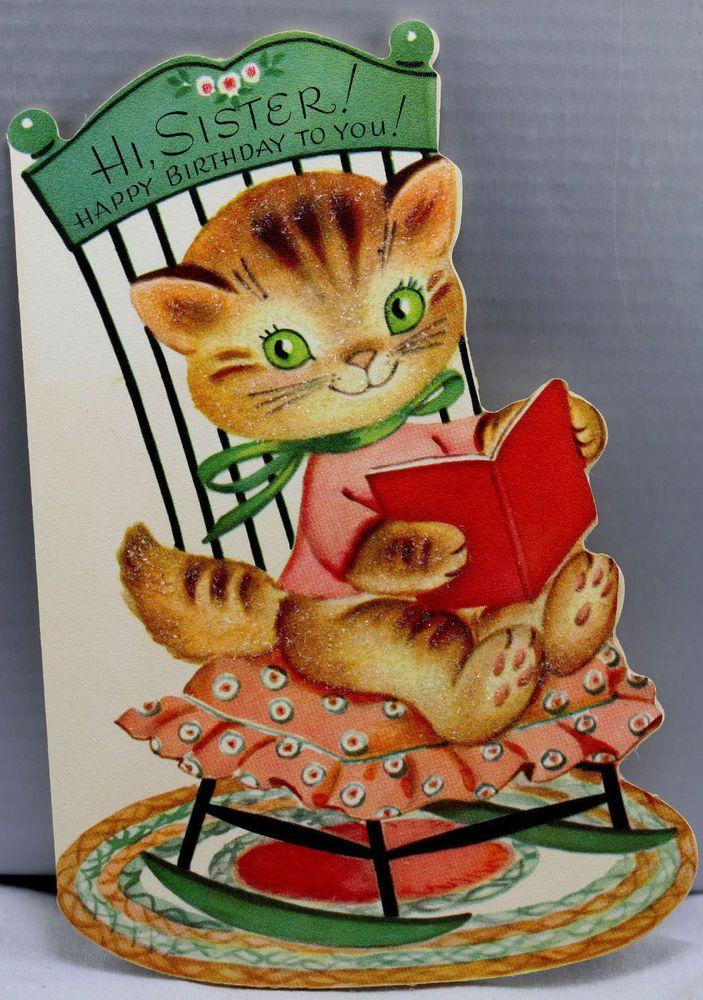 1960s Birthday Greeting Card Vintage Kitty Cat Green Eyes.