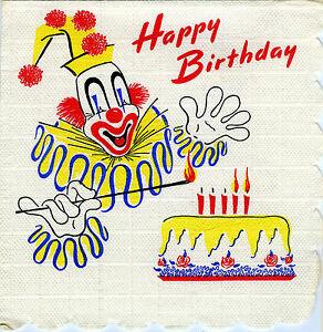 Details about Happy Birthday Rare Vintage Paper Napkin 1960 Napkins 60s  1960s Vtg knapkins 60.